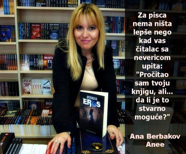 "Ana Berbakova Anee, autorka romana ""Operacija Eros"""