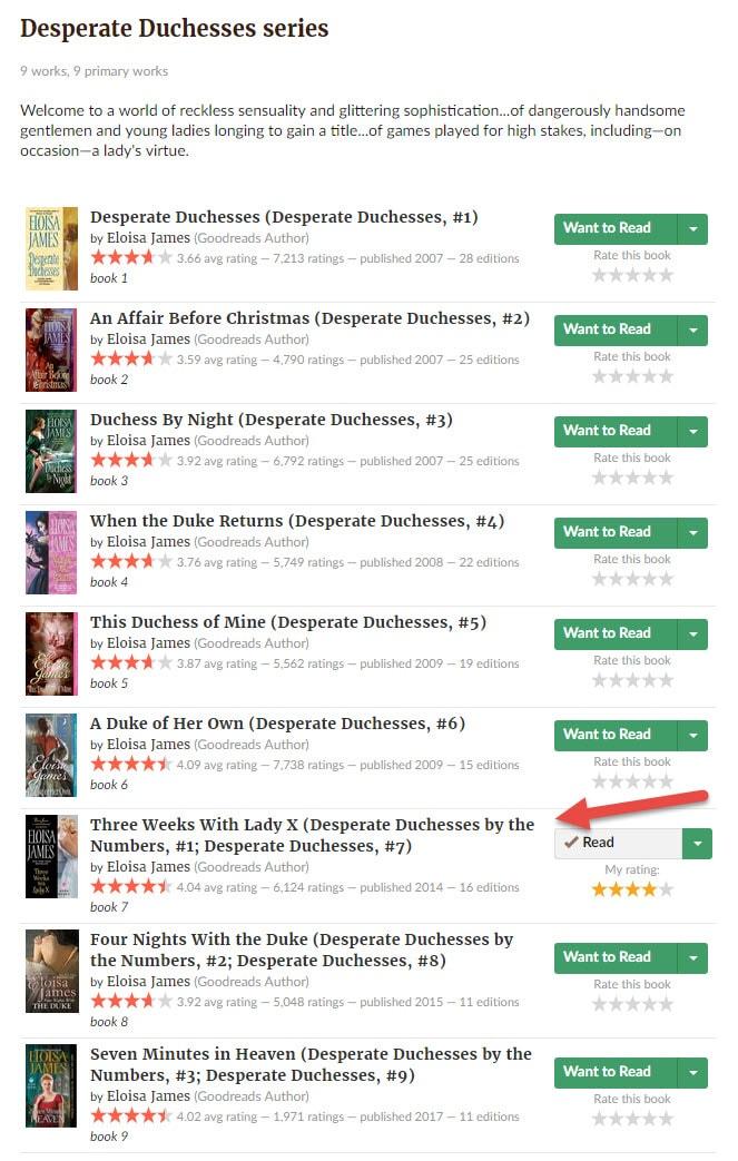 Očajne vojvotkinje – redosled od devet knjiga